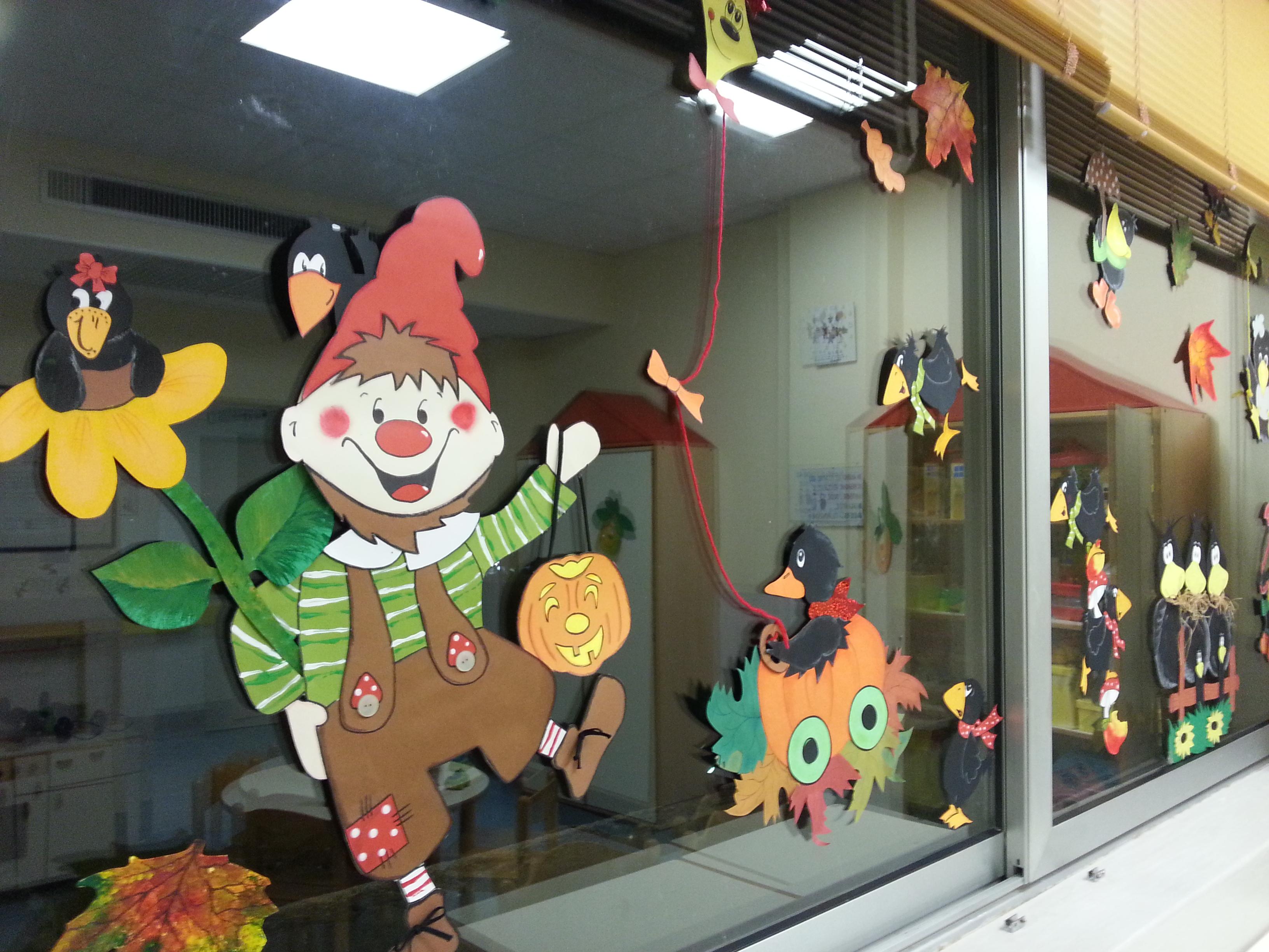 E l autunno arrivato anche in reparto abio merate for Addobbi finestre natale scuola infanzia
